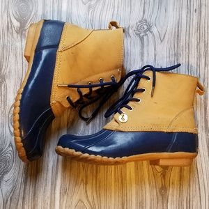 Sporto Blue and Tan Flannel Lined Duck Boots